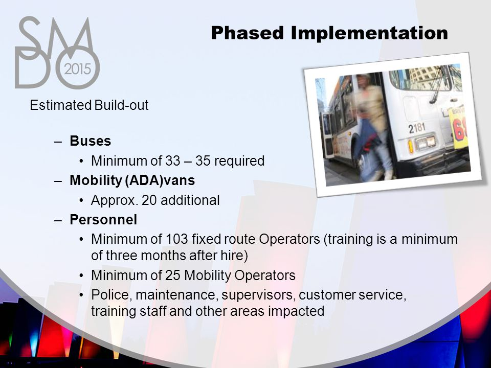 Estimated Build-out –Buses Minimum of 33 – 35 required –Mobility (ADA)vans Approx.