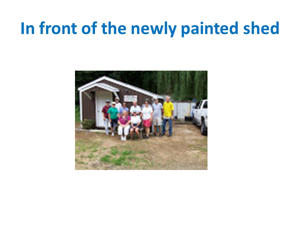 In front of the newly painted shed