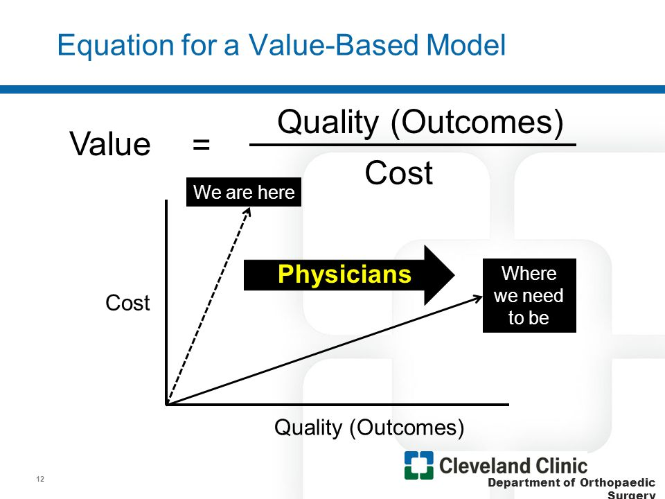Department of Orthopaedic Surgery Value = Quality (Outcomes) Cost x Engagement How Will Physicians be Valued in the Equation.