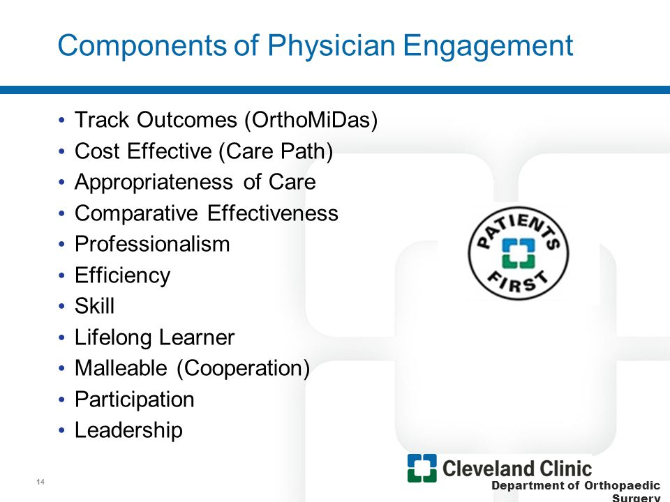 Department of Orthopaedic Surgery Components of Physician Alignment Communication –Financial ROI –Dashboards (SSI, SCIP, HCAPS, etc.) EMR/Outcomes (OrthoMiDas) Care Path (TKRA and THRA) Physician meetings with Supply Chain –EMB driven –PPI (Physician Preference Items) –Quality & Patient Focus –Transparency (COI) –Vetted –Examples: (Total joint/Spine/Trauma/Bone Graft) RFP (ACT AS A UNIT) with Vendors 15