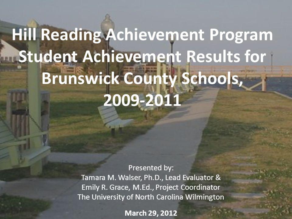 Hill Reading Achievement Program Student Achievement Results for Brunswick County Schools, 2009-2011 Presented by: Tamara M. Walser, Ph.D., Lead Evalu