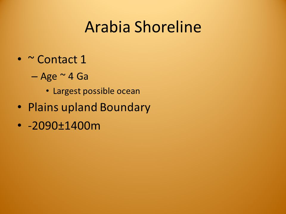 Arabia Shoreline ~ Contact 1 – Age ~ 4 Ga Largest possible ocean Plains upland Boundary -2090±1400m