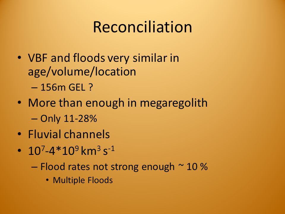 Reconciliation VBF and floods very similar in age/volume/location – 156m GEL .