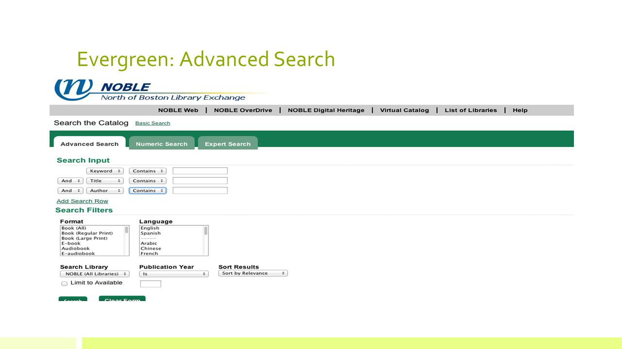 Evergreen: Advanced Search