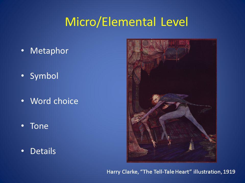 Micro/Elemental Level Metaphor Symbol Word choice Tone Details Harry Clarke, The Tell-Tale Heart illustration, 1919