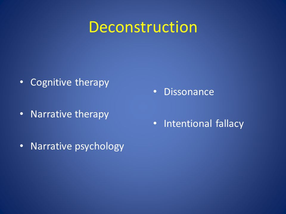 Deconstruction Dissonance Intentional fallacy Cognitive therapy Narrative therapy Narrative psychology