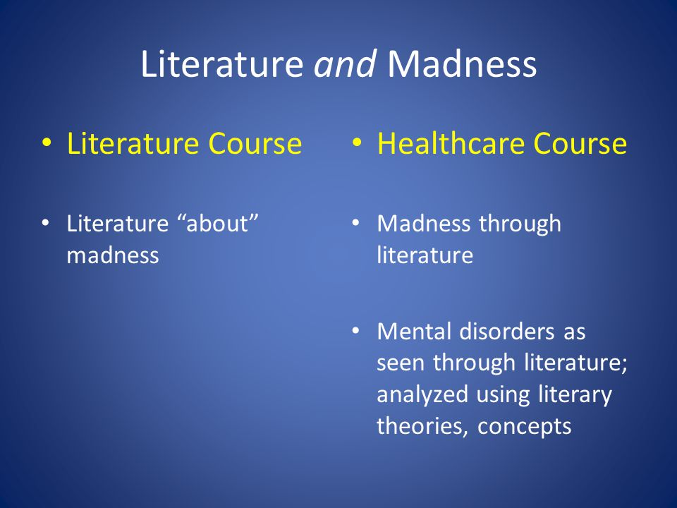 "Literature and Madness Literature Course Literature ""about"" madness Healthcare Course Madness through literature Mental disorders as seen through lite"