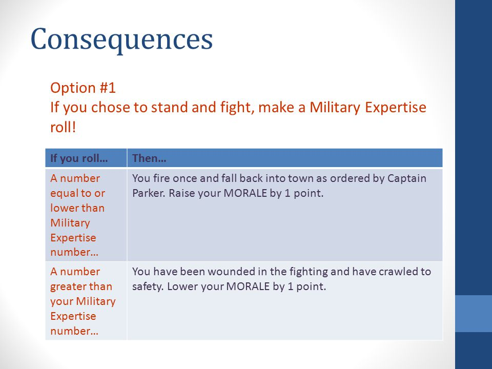 Consequences If you roll…Then… A number equal to or lower than Military Expertise number… You fire once and fall back into town as ordered by Captain Parker.