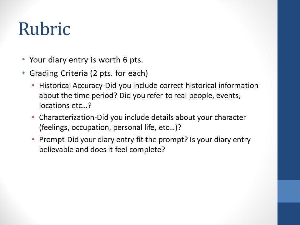 Rubric Your diary entry is worth 6 pts. Grading Criteria (2 pts.