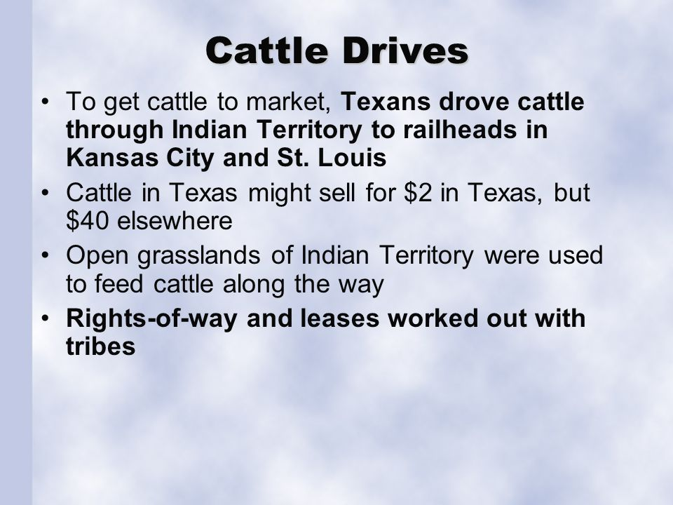 Cattle Drives To get cattle to market, Texans drove cattle through Indian Territory to railheads in Kansas City and St.
