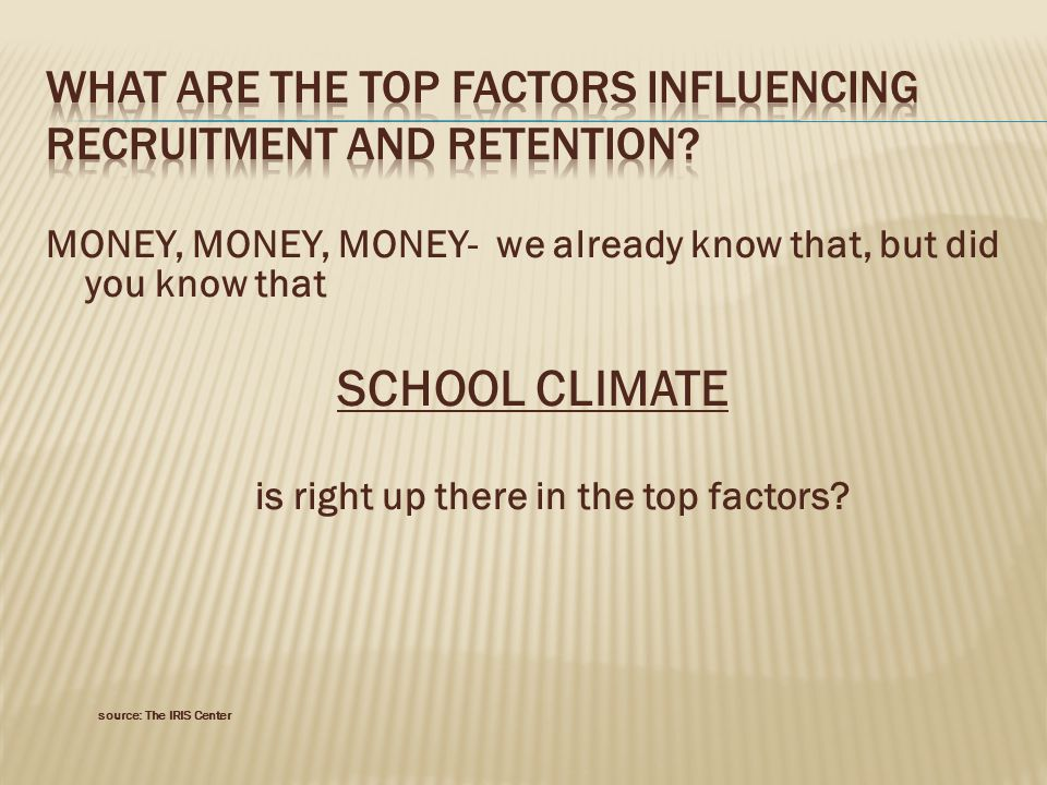 MONEY, MONEY, MONEY- we already know that, but did you know that SCHOOL CLIMATE is right up there in the top factors.