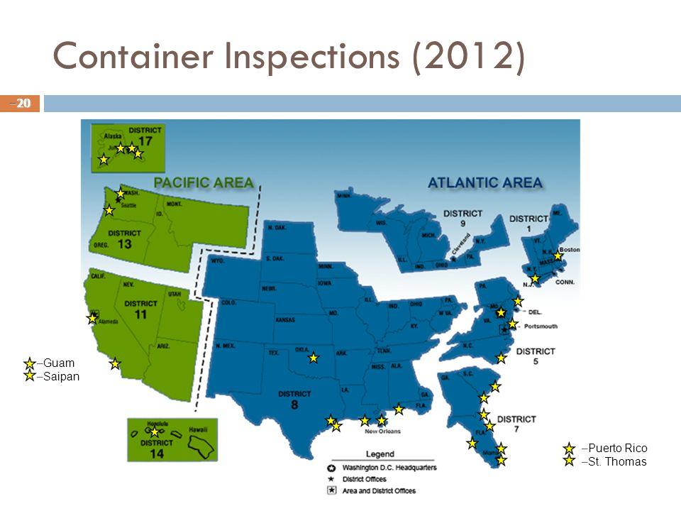 Container Inspections (2012) – 20 – –Guam – –Saipan – –Puerto Rico – –St. Thomas