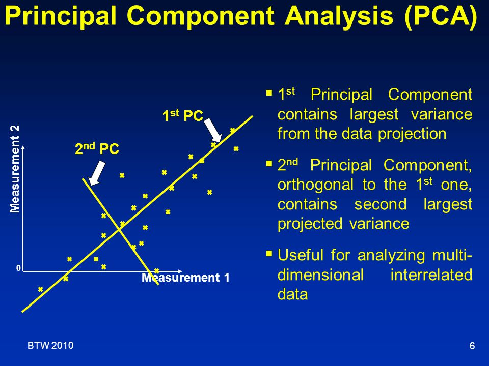 6  1 st Principal Component contains largest variance from the data projection  2 nd Principal Component, orthogonal to the 1 st one, contains second largest projected variance  Useful for analyzing multi- dimensional interrelated data Measurement 2 2 nd PC 1 st PC 0 Measurement 1 Principal Component Analysis (PCA) BTW 2010
