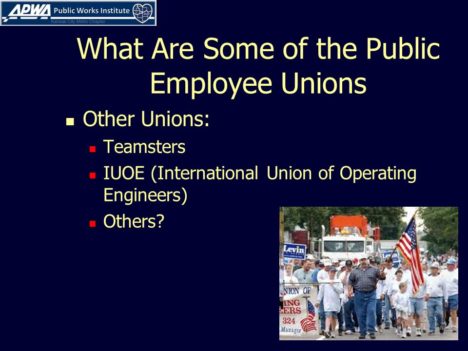 What Are Some of the Public Employee Unions Other Unions: Teamsters IUOE (International Union of Operating Engineers) Others