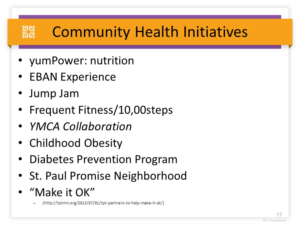 Community Health Initiatives yumPower: nutrition EBAN Experience Jump Jam Frequent Fitness/10,00steps YMCA Collaboration Childhood Obesity Diabetes Prevention Program St.