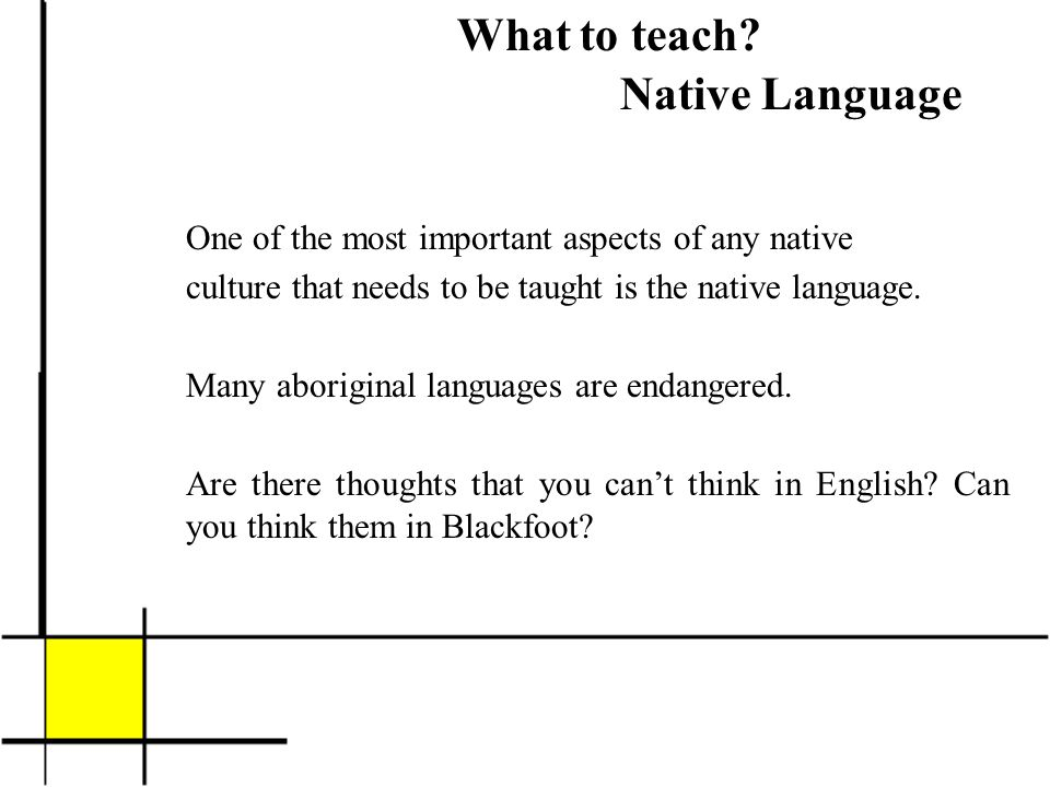 What to teach? Native Language One of the most important aspects of any native culture that needs to be taught is the native language. Many aboriginal