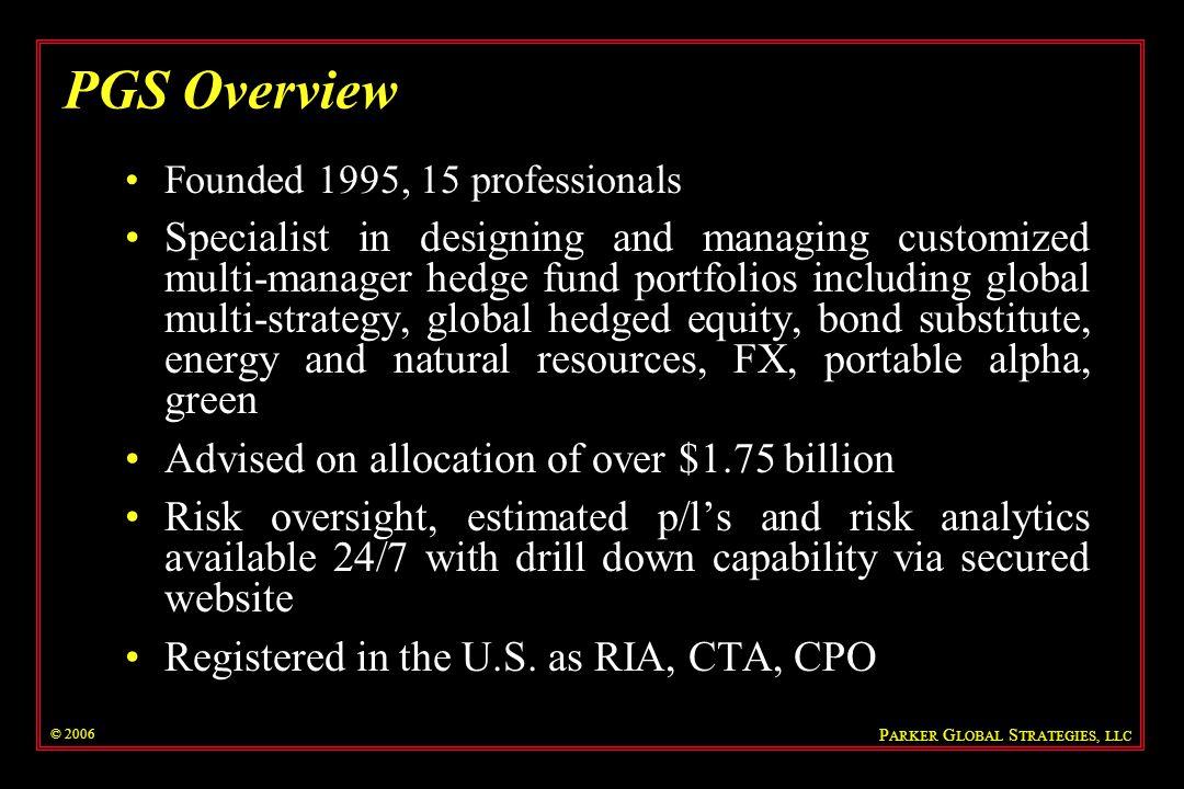 P ARKER G LOBAL S TRATEGIES, LLC What is Risk.