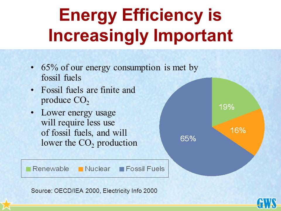 65% of our energy consumption is met by fossil fuels Fossil fuels are finite and produce CO 2 Lower energy usage will require less use of fossil fuels, and will lower the CO 2 production Source: OECD/IEA 2000, Electricity Info 2000 Energy Efficiency is Increasingly Important