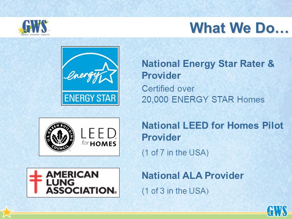 National LEED for Homes Pilot Provider (1 of 7 in the USA) National Energy Star Rater & Provider Certified over 20,000 ENERGY STAR Homes What We Do… National ALA Provider (1 of 3 in the USA )