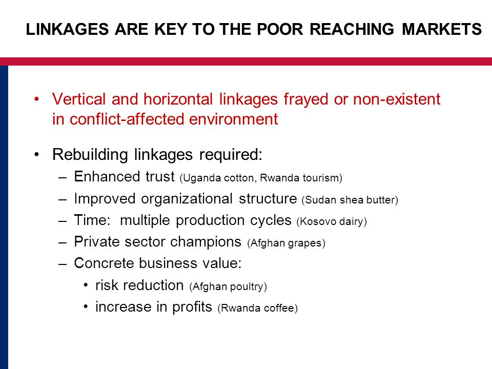 LINKAGES ARE KEY TO THE POOR REACHING MARKETS Vertical and horizontal linkages frayed or non-existent in conflict-affected environment Rebuilding linkages required: –Enhanced trust (Uganda cotton, Rwanda tourism) –Improved organizational structure (Sudan shea butter) –Time: multiple production cycles (Kosovo dairy) –Private sector champions (Afghan grapes) –Concrete business value: risk reduction (Afghan poultry) increase in profits (Rwanda coffee)