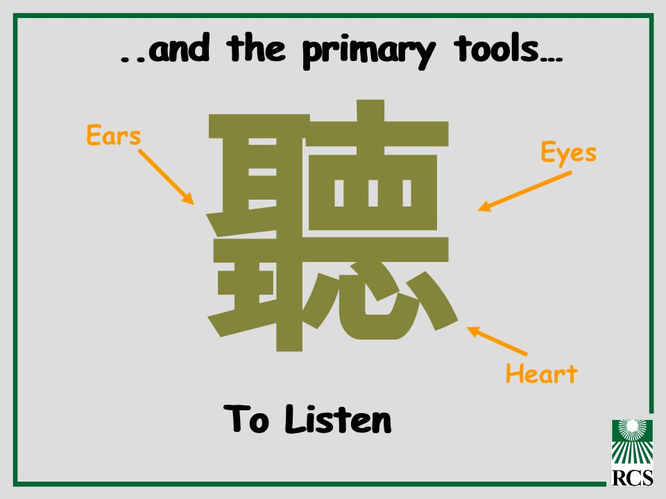 聽 Ears Eyes Heart..and the primary tools… To Listen