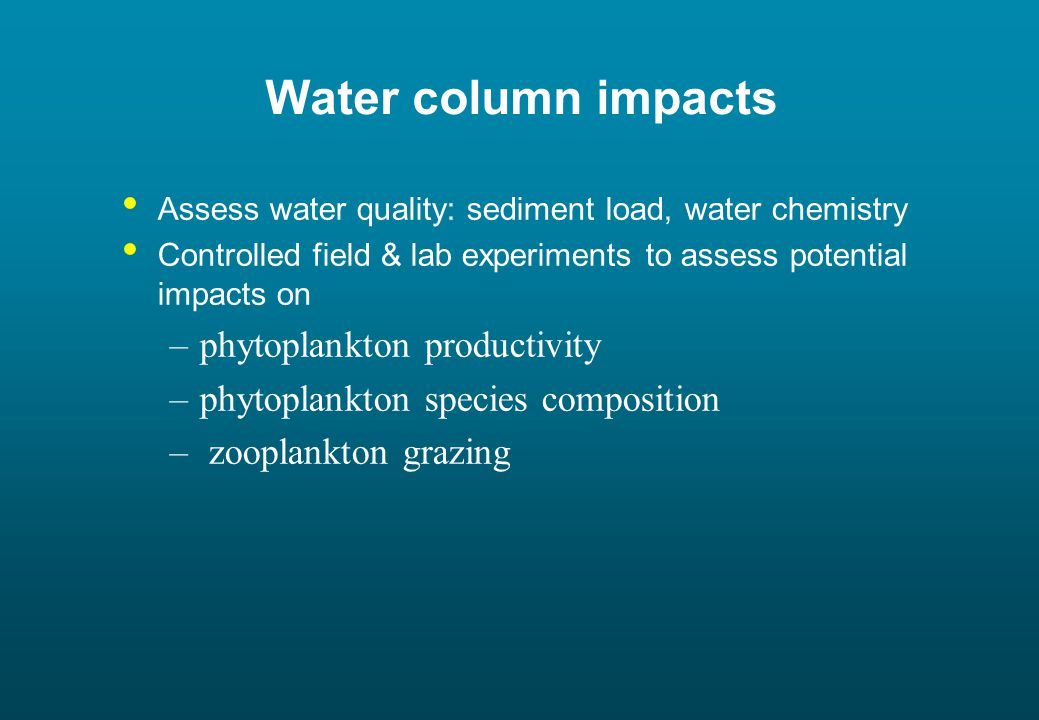 Water column impacts Assess water quality: sediment load, water chemistry Controlled field & lab experiments to assess potential impacts on –phytoplankton productivity –phytoplankton species composition – zooplankton grazing