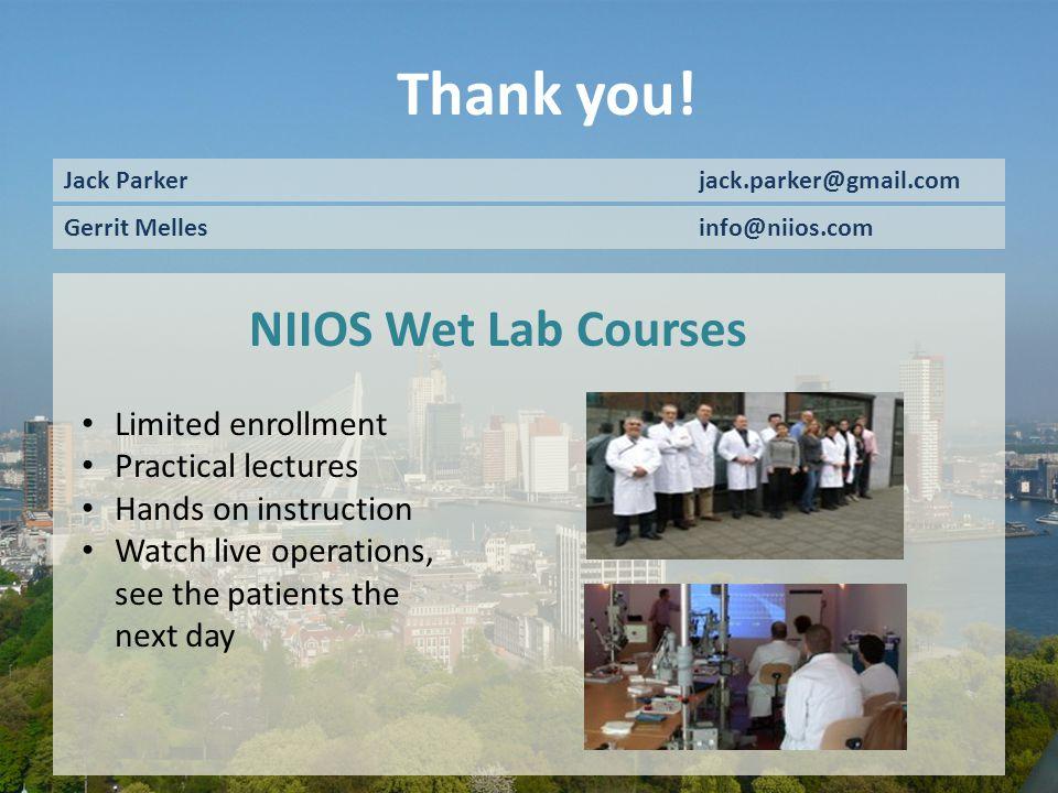 Dr Melles is a consultant for D.O.R.C. International/ Dutch Ophthalmic USA. Thank you! Jack Parkerjack.parker@gmail.com Gerrit Melles info@niios.com N