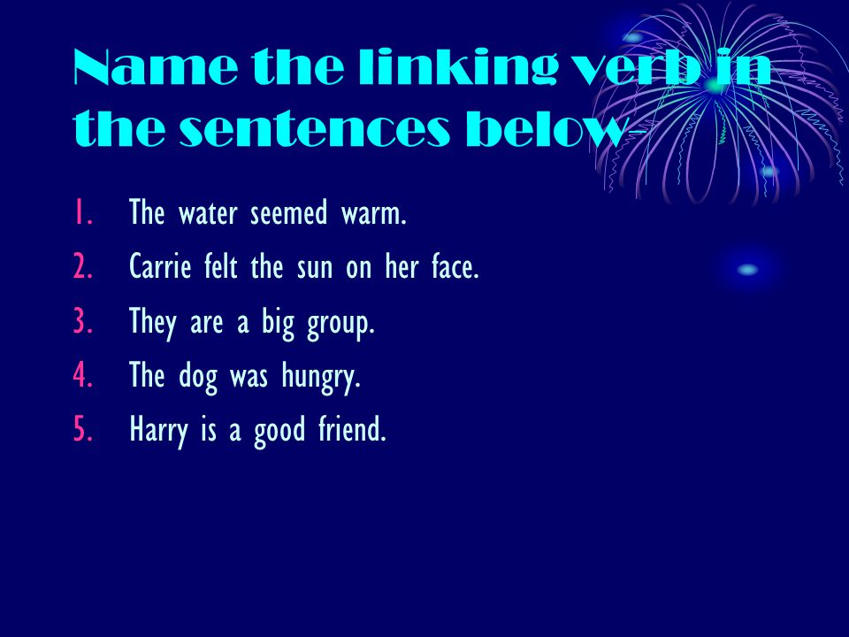 Name the linking verb in the sentences below- 1.The water seemed warm. 2.Carrie felt the sun on her face. 3.They are a big group. 4.The dog was hungry