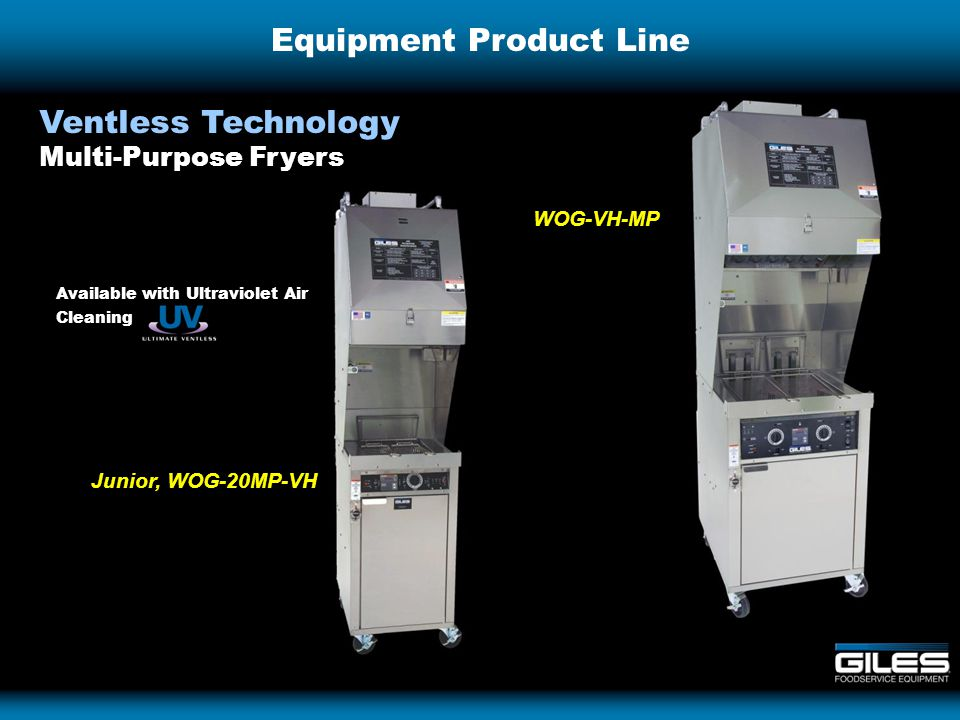 Equipment Product Line Ventless Technology Multi-Purpose Fryers Junior, WOG-20MP-VH WOG-VH-MP Available with Ultraviolet Air Cleaning