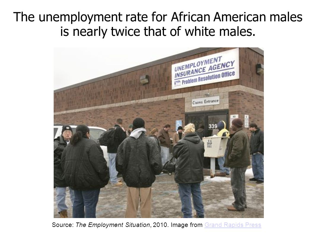 The unemployment rate for African American males is nearly twice that of white males.
