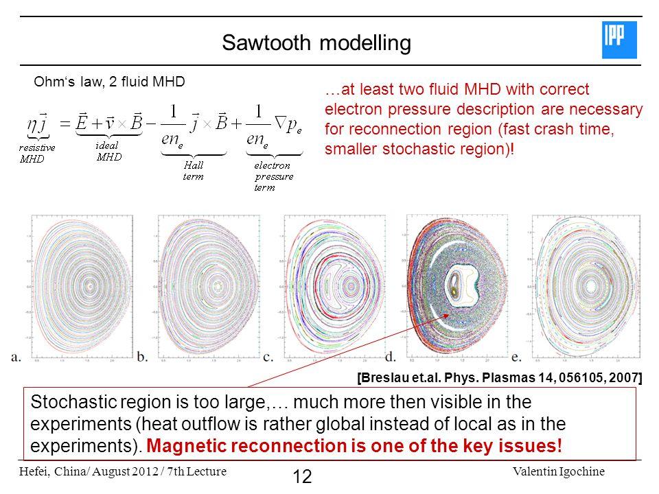 Hefei, China/ August 2012 / 7th LectureValentin Igochine 12 Sawtooth modelling [Breslau et.al. Phys. Plasmas 14, 056105, 2007] …at least two fluid MHD