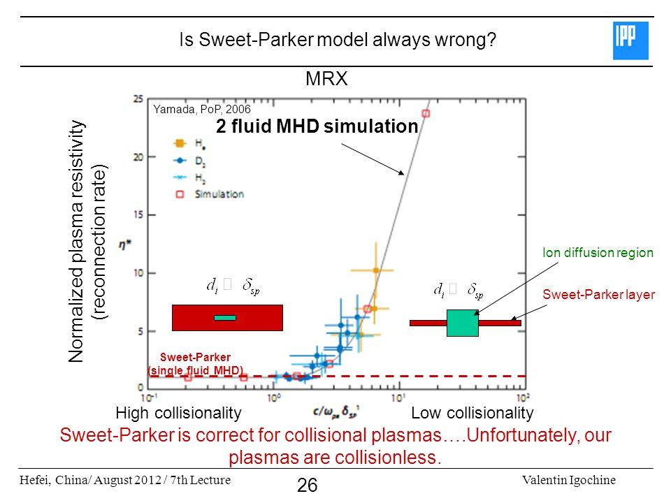 Hefei, China/ August 2012 / 7th LectureValentin Igochine 26 Sweet-Parker (single fluid MHD) High collisionalityLow collisionality 2 fluid MHD simulati