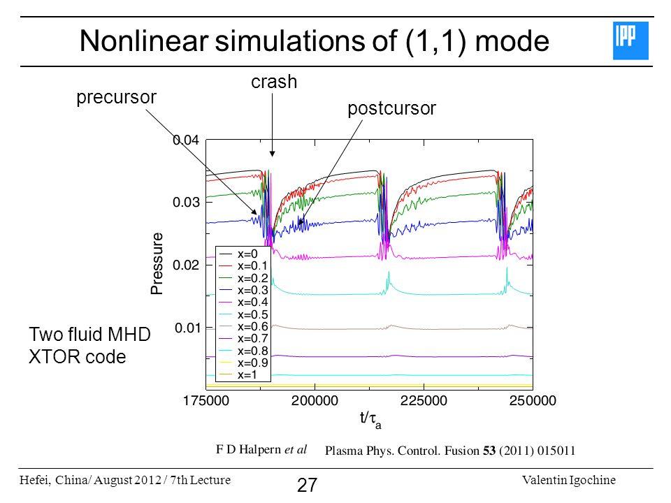 Hefei, China/ August 2012 / 7th LectureValentin Igochine 27 Nonlinear simulations of (1,1) mode precursor crash postcursor Two fluid MHD XTOR code
