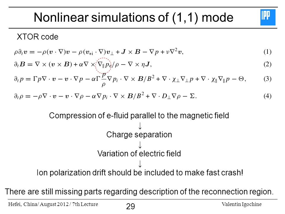 Hefei, China/ August 2012 / 7th LectureValentin Igochine 29 Nonlinear simulations of (1,1) mode Compression of e-fluid parallel to the magnetic field