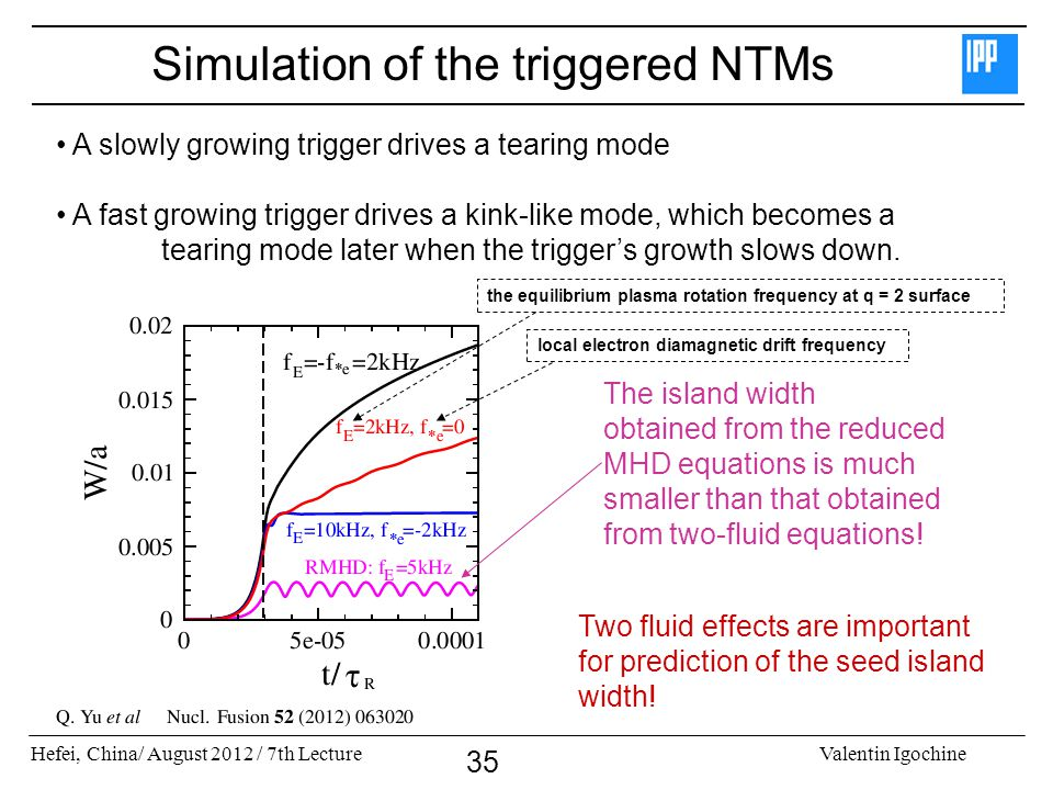 Hefei, China/ August 2012 / 7th LectureValentin Igochine 35 Simulation of the triggered NTMs A slowly growing trigger drives a tearing mode A fast gro