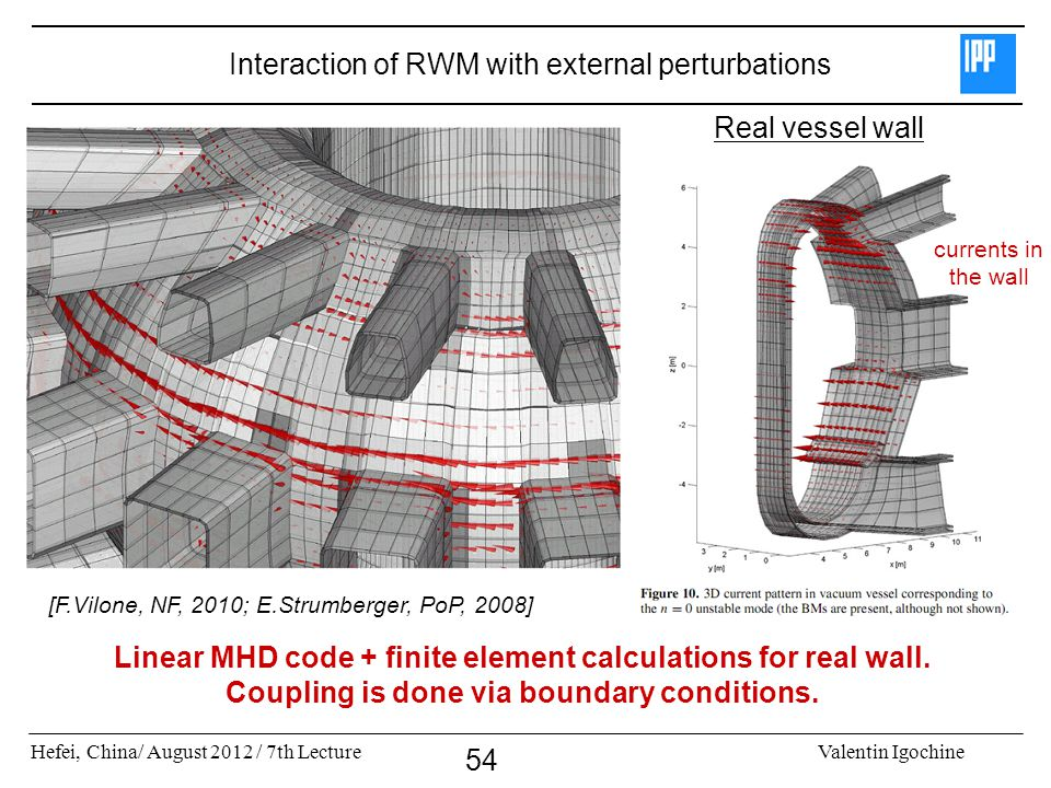 Hefei, China/ August 2012 / 7th LectureValentin Igochine 54 Interaction of RWM with external perturbations Linear MHD code + finite element calculatio