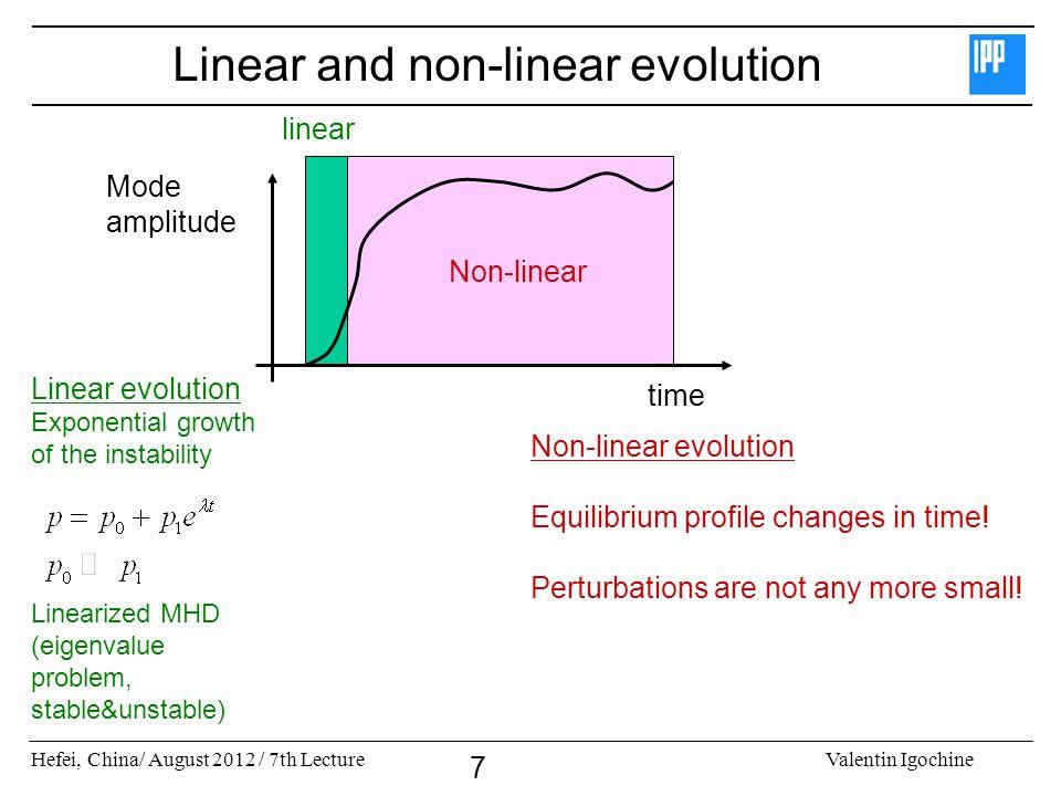 Hefei, China/ August 2012 / 7th LectureValentin Igochine 7 Linear and non-linear evolution Mode amplitude time Non-linear linear Linear evolution Expo