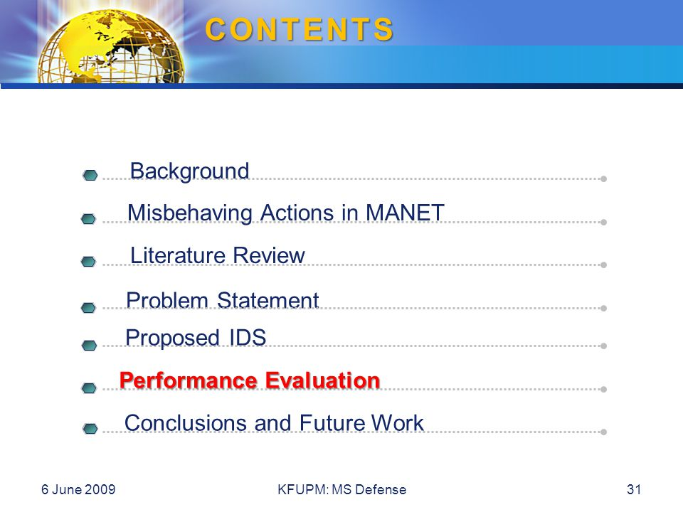 CONTENTS Background Literature Review Problem Statement Misbehaving Actions in MANET Proposed IDS Performance Evaluation Conclusions and Future Work 6