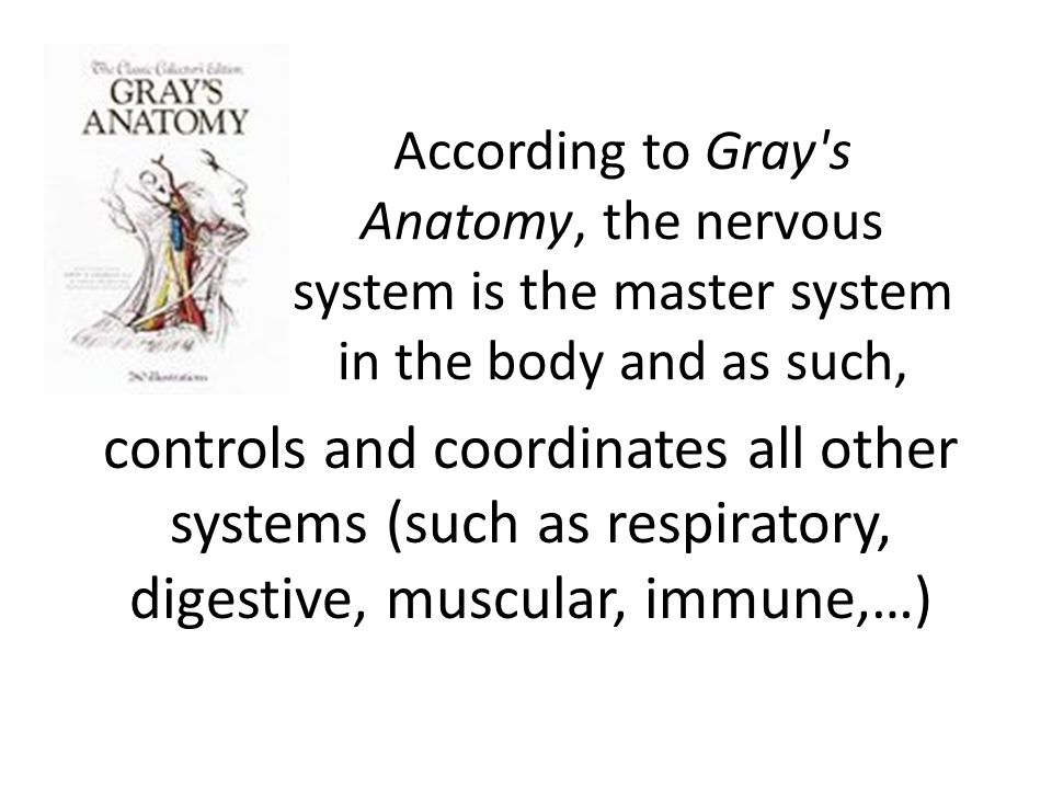 According to Gray s Anatomy, the nervous system is the master system in the body and as such, controls and coordinates all other systems (such as respiratory, digestive, muscular, immune,…)