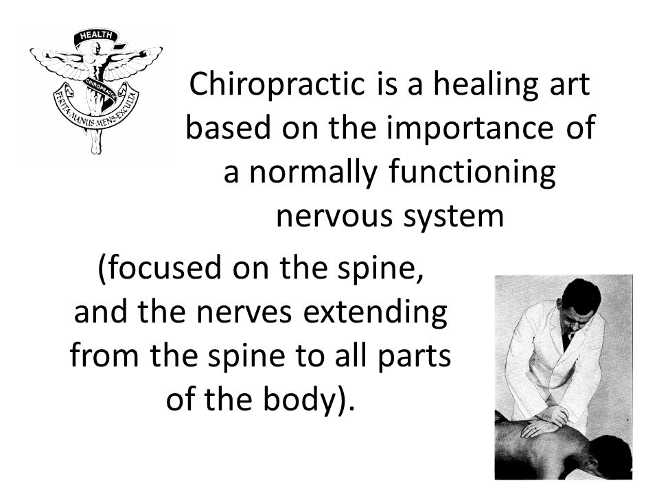 Chiropractic is a healing art based on the importance of a normally functioning nervous system (focused on the spine, and the nerves extending from the spine to all parts of the body).