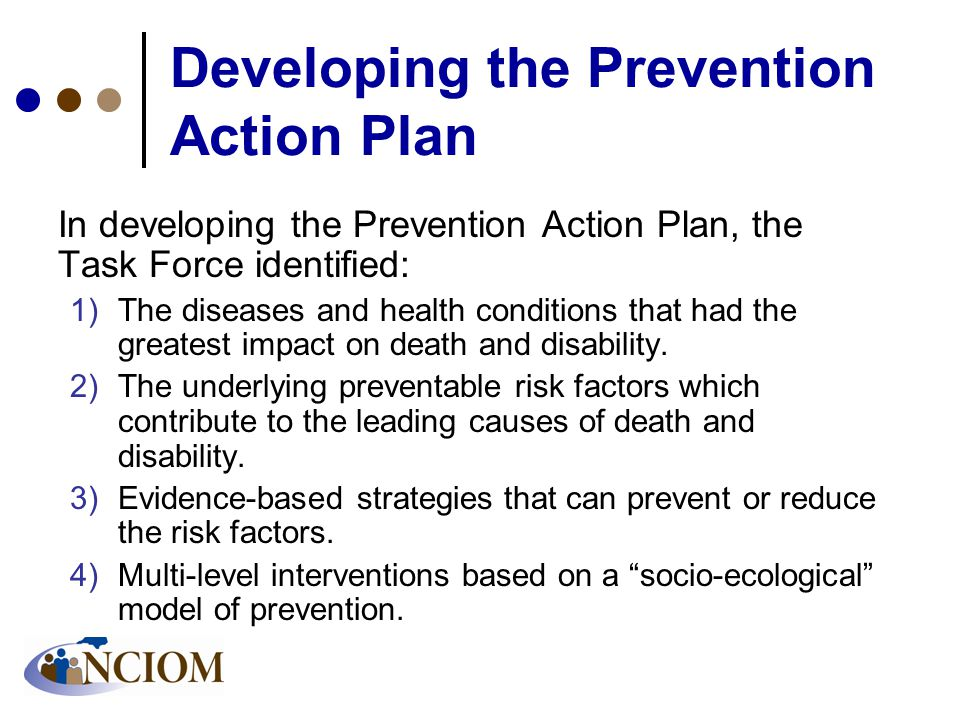 Developing the Prevention Action Plan In developing the Prevention Action Plan, the Task Force identified: 1)The diseases and health conditions that had the greatest impact on death and disability.