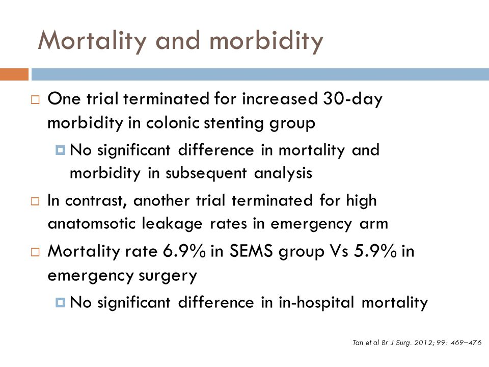 Mortality and morbidity  One trial terminated for increased 30-day morbidity in colonic stenting group  No significant difference in mortality and m