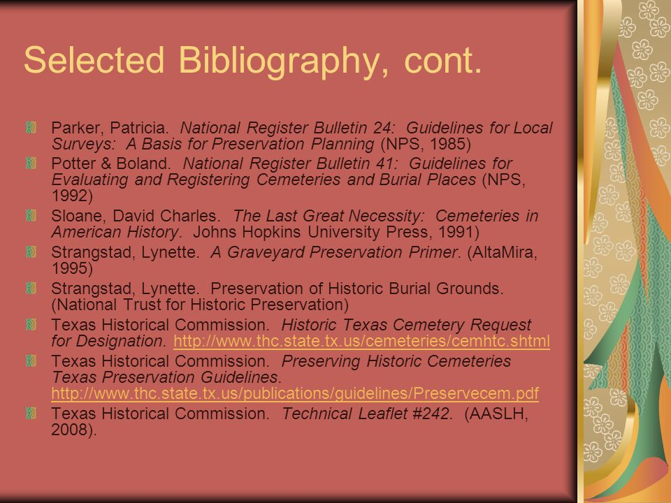 Selected Bibliography, cont.Parker, Patricia.