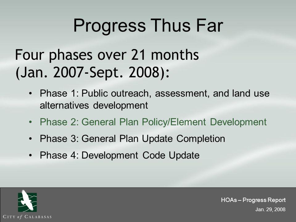 HOAs – Progress Report Jan.