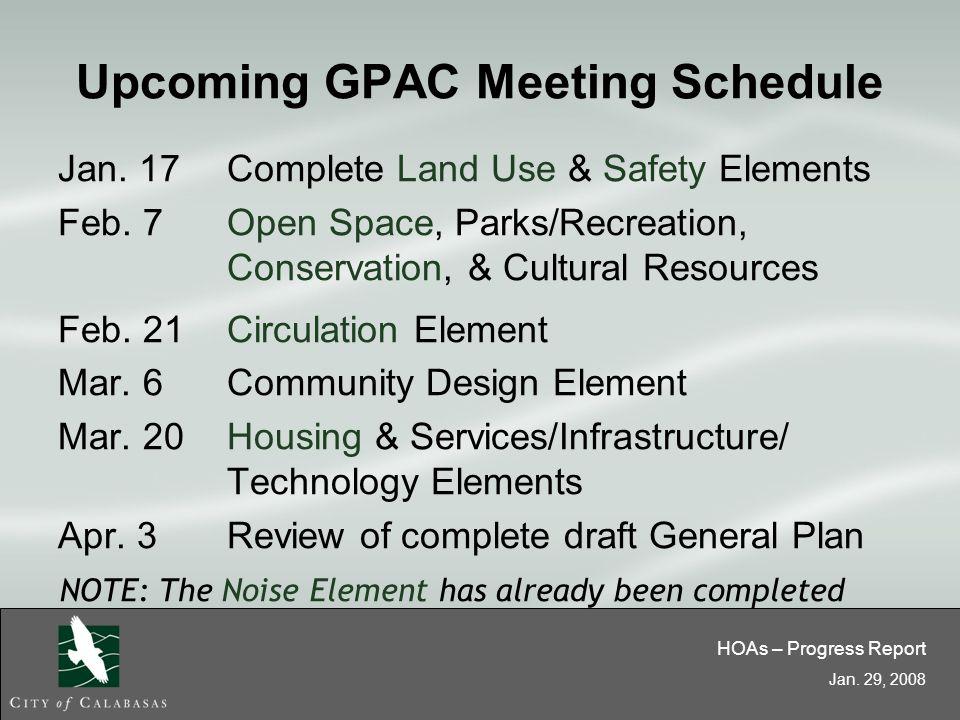 HOAs – Progress Report Jan. 29, 2008 Upcoming GPAC Meeting Schedule Jan.