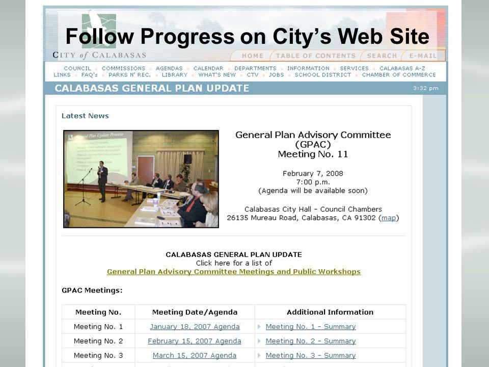 Follow Progress on City's Web Site