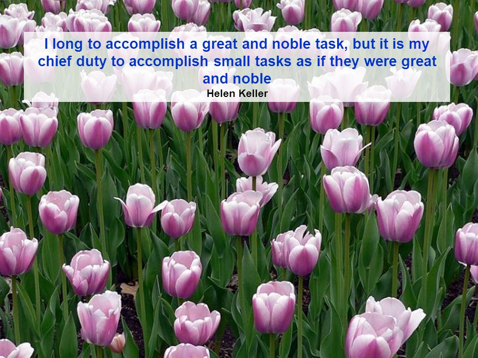 I long to accomplish a great and noble task, but it is my chief duty to accomplish small tasks as if they were great and noble Helen Keller