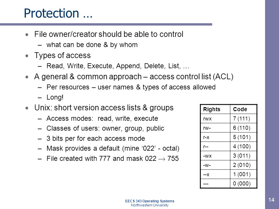 14 Protection … File owner/creator should be able to control –what can be done & by whom Types of access –Read, Write, Execute, Append, Delete, List,