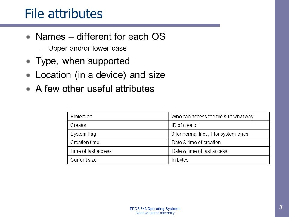 3 File attributes Names – different for each OS –Upper and/or lower case Type, when supported Location (in a device) and size A few other useful attri