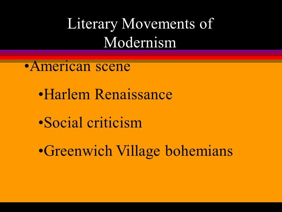 Literary Movements of Modernism Expatriates Lost Generation